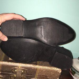 BareTraps Shoes - Bare Traps laser cut black suede booties, size 8